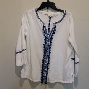 Boden White Blouse With Blue Embroidered Tassel M